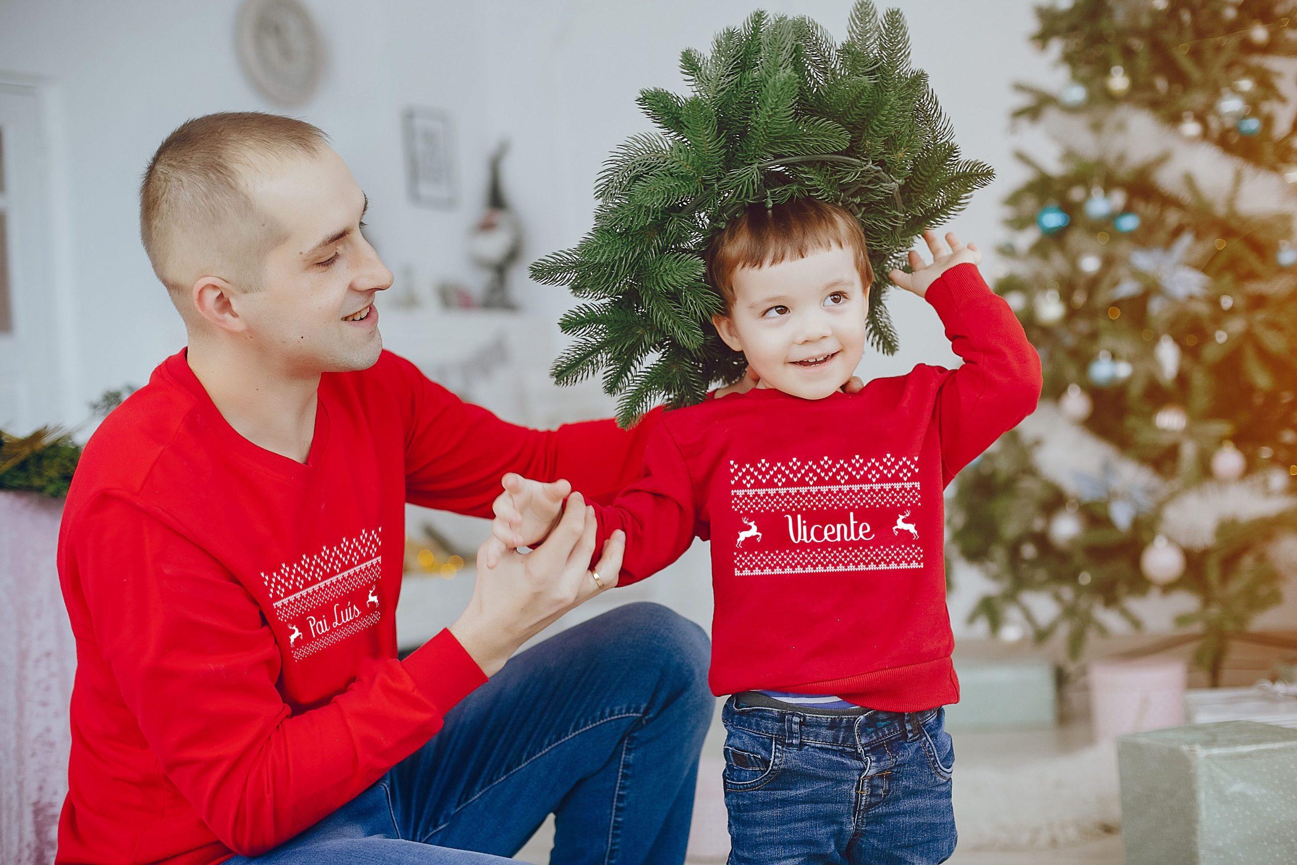 pai e filho camisola de natal cutxi cutxi